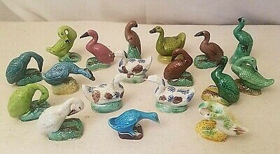Lot of 18 Antique Chinese Export Porcelain Bird Figurines~Geese Ducks Storks