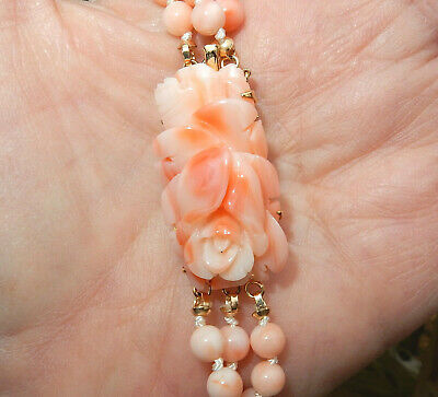 3 Strand Vintage Chinese Carved Angel Skin Coral Clasp 5mm Beads Necklace 19""