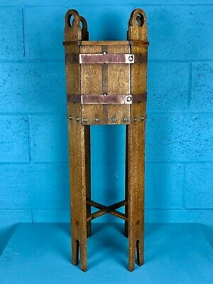 Arts and Crafts Oak Plant Stand, Jardiniere (100813)
