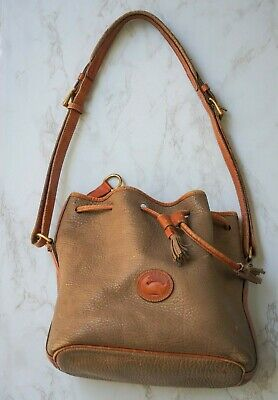 DOONEY BOURKE Vintage All Weather Leather Large Brown Draw Bucket Bag USA Made
