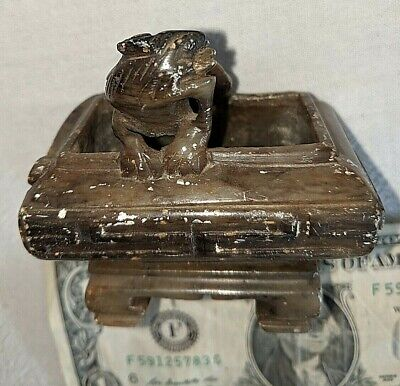 Vtg Carved Doll House Miniature Soapstone Bonsai Pot Planter Foo Dog Dragon 3""