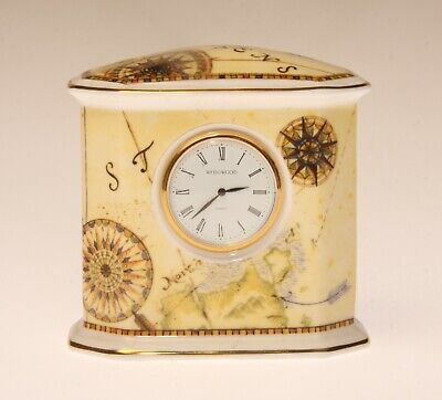 Vintage WENGWOOD Porcelain Quartz Table/Shelf Mini Quartz Clock MADE IN ENGLAND