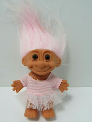 """Vintage RussTroll 4"""" Doll with Dress Light Pink Hair"""