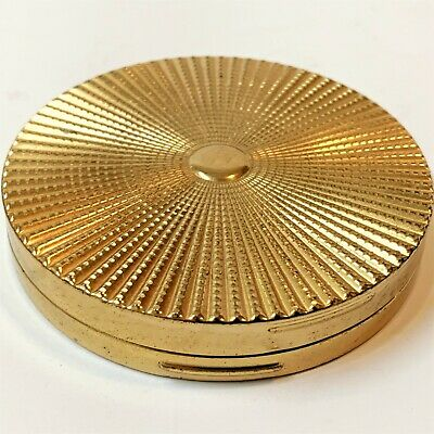 Vintage Engine-Turned Sunray Gold Tone Compact with Mirror & Powder, 7cm Wide