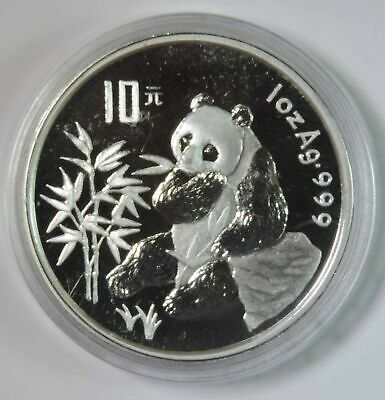 1996 China Proof Silver Panda 10 Yuan .999 1oz Coin in Capsule