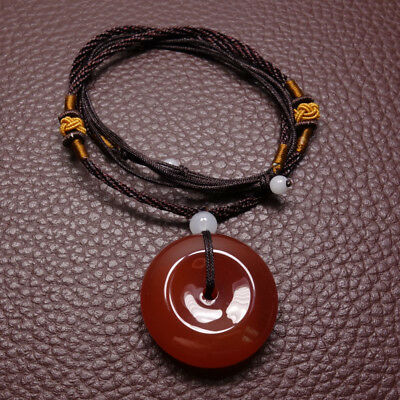 Natural Red Brown Agate Chalcedony Jade Pendant Ping'an Circle Amulet Y0014