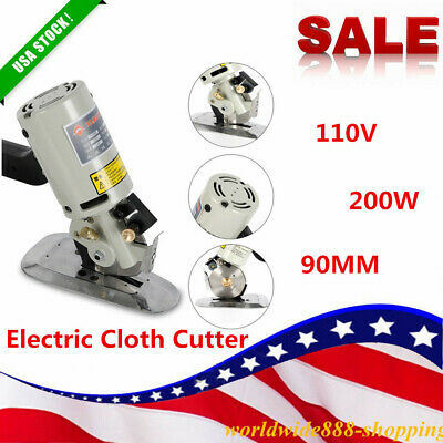 90mm Blade Electric Cloth Cutter Fabric Leather Cutting Machine 110V US STOCK