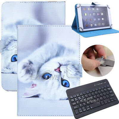 """For 9.7"""" -10.1"""" Tablets White Cat Universal Leather Case Cover Wireless Keyboard"""