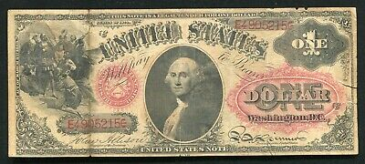 FR. 19 1874 $1 ONE DOLLAR LEGAL TENDER UNITED STATES NOTE SMALL RED w/RAYS VF