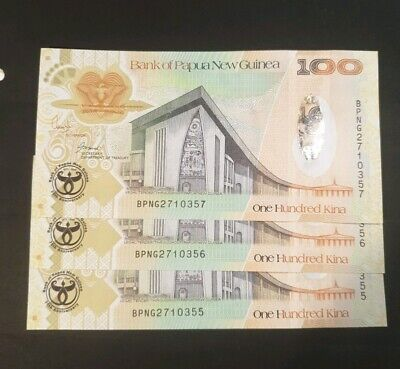 Papua new guinea 100 kina , 2008 comm banknotes - 3 off  amost unc - lot 90