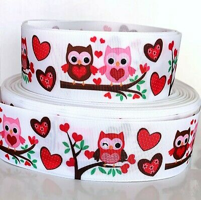 "GROSGRAIN RIBBON 7/8"", 1.5"" Valentine's Day Owls Hearts Printed For Gifts  Bulk"