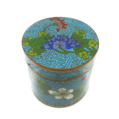 Antique Chinese Blue Enameled Cloisonné Floral Tea Caddy Humidor