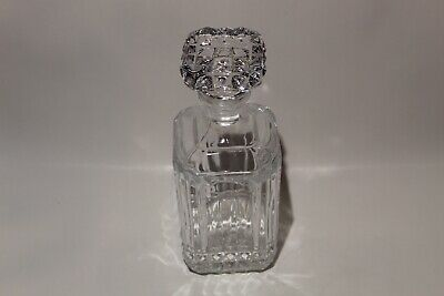 """Vintage Square 10"""" Liquor Whiskey Glass Decanter with Stopper"""