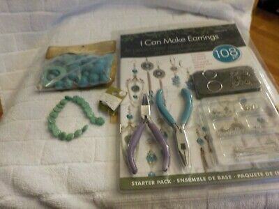 Earring Jewelry Making Starter Pack + 1 string  & 1 pkg faux turquoise beads
