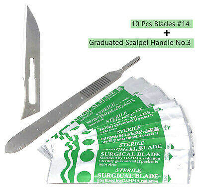 10 Scalpel Blades #14 Includes #3 Metal Handle Suitable for Dermaplaning, Crafts
