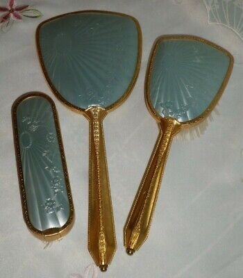Vintage Boxed Baby Blue and Gold Vanity Set Mirror Hair Brush And Clothes Brush