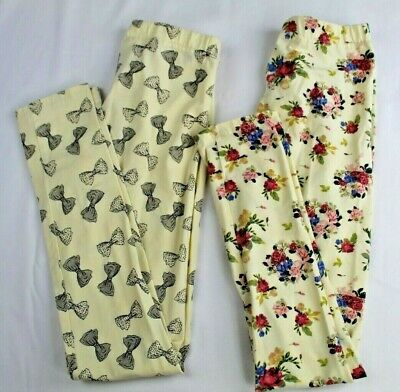 Girls Yellow Beige Leggings Pants 2 Pair Bows and Floral Japan Size 140 US 11-12