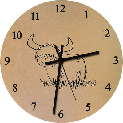 275mm 'Highland Cow' Large Wooden Clock (CK00011666)