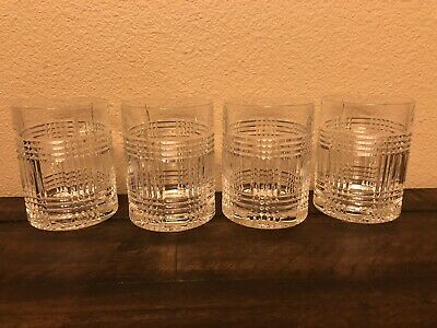 Ralph Lauren Glen Plaid Double Old Fashioned Set 4 Glasses New In Box
