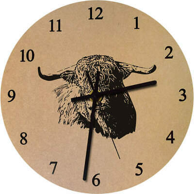 275mm 'Highland Cattle' Large Wooden Clock (CK00013738)