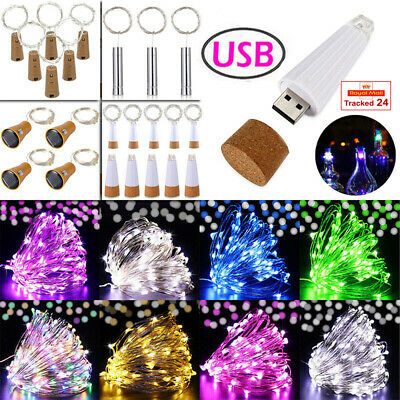 Battery Bottle Fairy String Lights USB Rechargeable Cork Wedding Party Led Decor