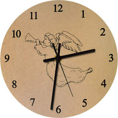 275mm 'Angel Playing Trumpet' Large Wooden Clock (CK00016838)