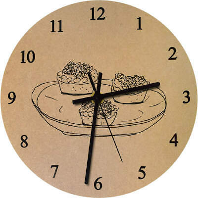 275mm 'Tray Of Cakes' Large Wooden Clock (CK00018354)