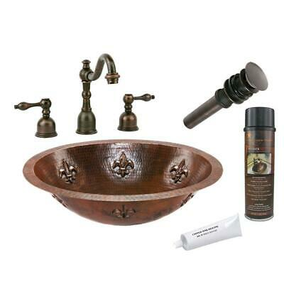Under Counter Bathroom Sink Hammered Copper Oval Faucet Drain Oil Rubbed Bronze