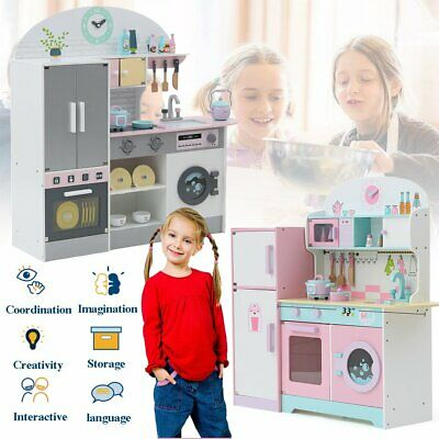 2020 Deluxe Kids Toy Kitchen Large Children Wooden Cooker Girls Boys Play Set CW