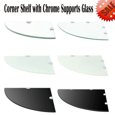 Floating Corner Shelf Display Storage Rack with Chrome Supports Glass Wall Mount