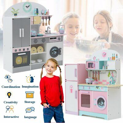 Deluxe Kids Toy Kitchen Large Children Wooden Cooker Girls Boys Play Set Type1~5