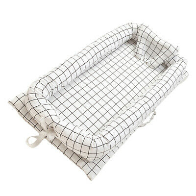 """Baby Bed 35x20"""" Breathable Newborn Portable Infant Lounger Crib Grid_White"""