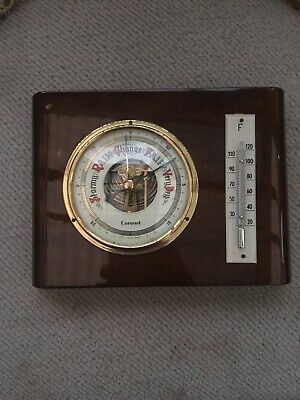 Coronet Vintage Hygrometer & Barometer Thermometer Germany Old Wooden Wall Hang