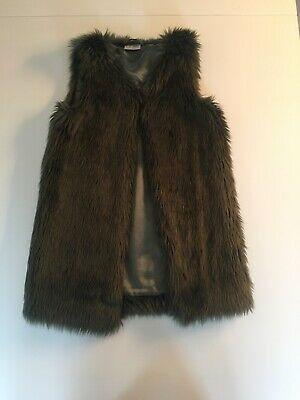 Girls Next Moss Green Faux Fur Gillet Jacket Age 9
