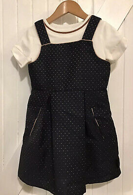 Ted Baker Girls age 4 years Pinafore Dress & Top Unused New Navy Sparkle