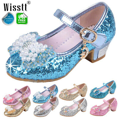 Kids Girls Cosplay Frozen Princess Pumps Sequin Party Wedding Toddler Shoes Size