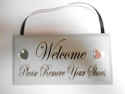 Welcome please remove your shoes, plaque, Grey. with Silver Mirror Hearts.