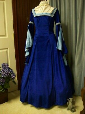 Blue Medieval Renaissance Game of Thrones Cosplay LARP Pirate Dress Costume Gown
