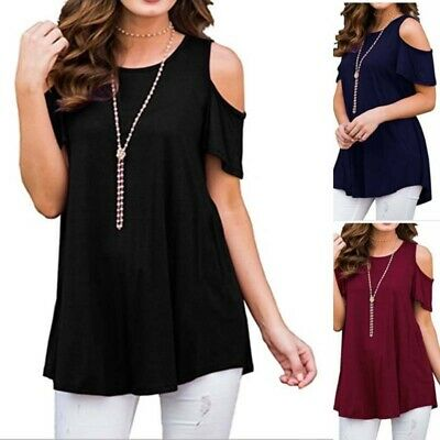 Tops Casual T Shirt USA Cold Shoulder Summer Womens Plus Size Loose Blouse Tee