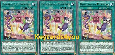 Yugioh - 3 X Performapal Popperup -  Led6-En047  Rare - Magical Hero 1St Ed