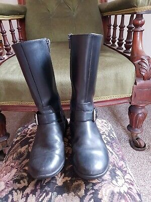 Clarks Size 13F Girls Black Leather Boots