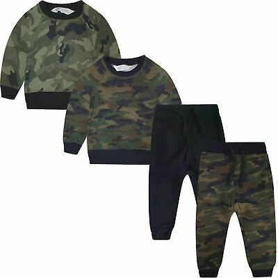 Boys Ex-H&M Camo Army Fleece Tracksuit Kids Jogging Top & Bottoms Set Suit 2-14