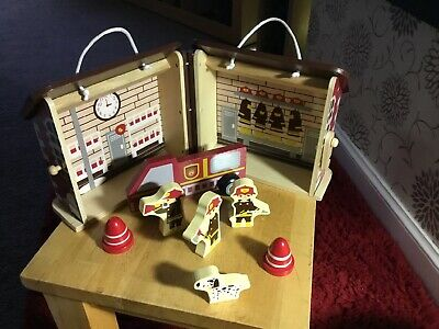 Wooden Toy Fire Station With Engine