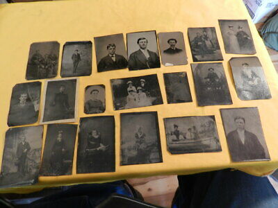 20 Diff Tin Type Tintype Photos Children Young Women Groups Couples Family Boat