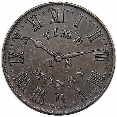 1837 Hard Times Token, New York, NY: Smith's Clocks, Time Is Money, HT-314, AU