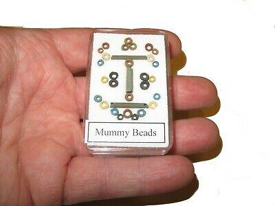 Ancient Egyptian Mummy Beads 3,000 years old medium display case w/ ID card #2