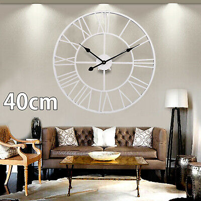 Extra Large Roman Wall Clock Skeleton Big Giant Numerals White Open Face Round