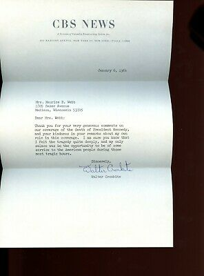 CBS News Walter Cronkite Kennedy Coverage Letter Jan. 4 1964