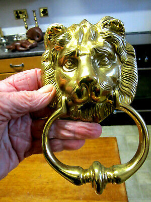 Old Vintage Victorian Style Solid Brass Lion Head Door Knocker with all Fittings