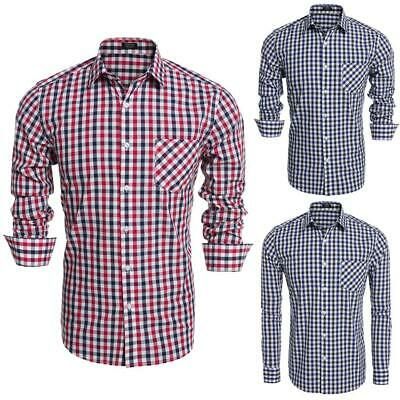 Men Fashion Slim Long Sleeve Plaid Button Down Casual Shirts GDY7